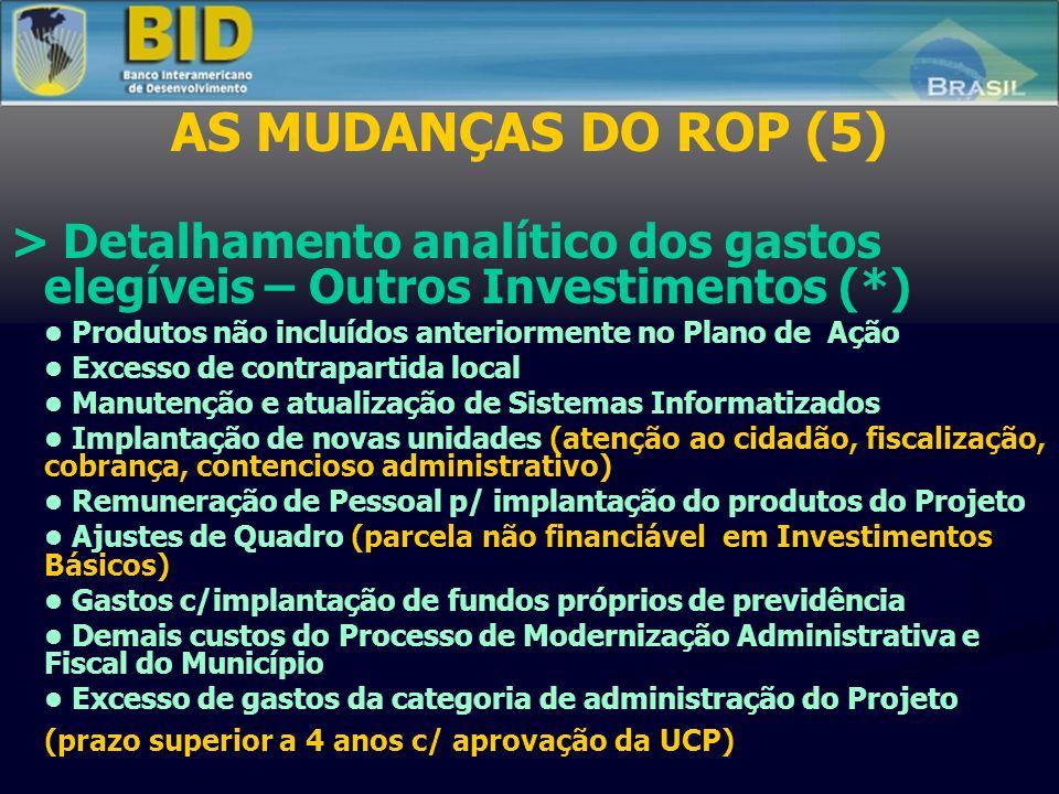 AS MUDANÇAS DO ROP (5) > Detalhamento analítico dos gastos elegíveis – Outros Investimentos (*) Produtos não incluídos anteriormente no Plano de Ação