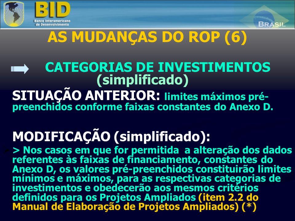 AS MUDANÇAS DO ROP (6) CATEGORIAS DE INVESTIMENTOS (simplificado) SITUAÇÃO ANTERIOR: limites máximos pré- preenchidos conforme faixas constantes do Anexo D.