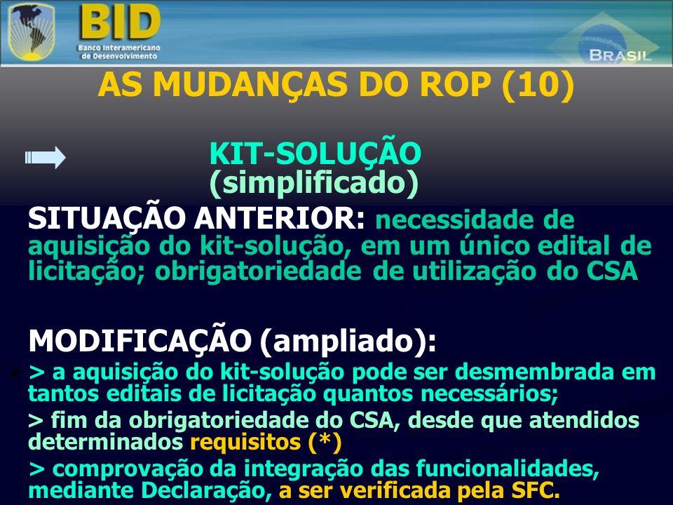 AS MUDANÇAS DO ROP (10) KIT-SOLUÇÃO (simplificado) SITUAÇÃO ANTERIOR: necessidade de aquisição do kit-solução, em um único edital de licitação; obriga