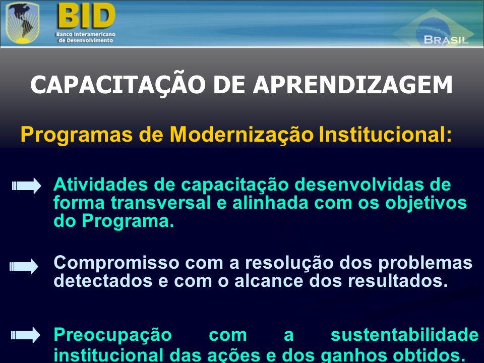 CAPACITAÇÃO DE APRENDIZAGEM Programas de Modernização Institucional: Atividades de capacitação desenvolvidas de forma transversal e alinhada com os ob