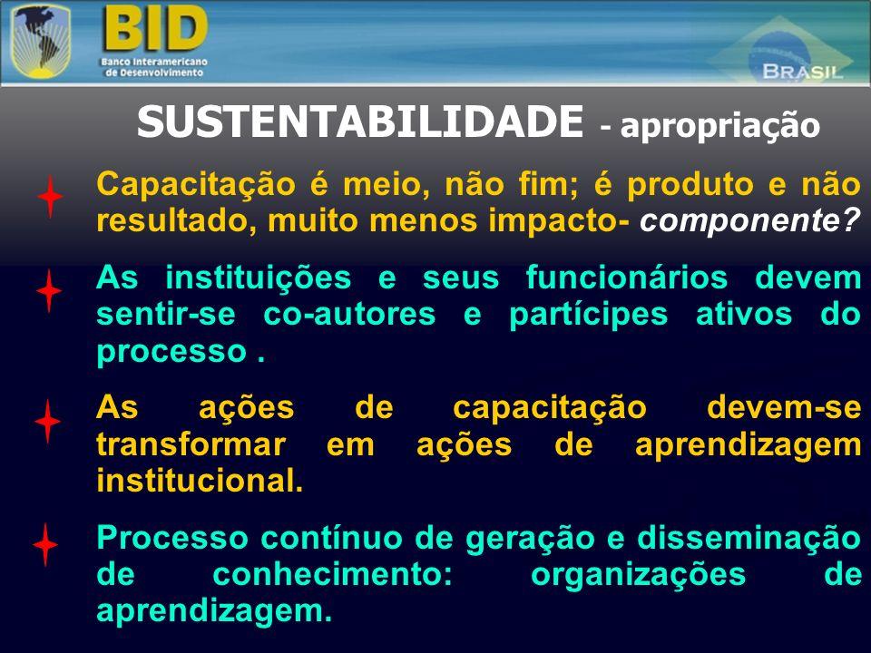 SUSTENTABILIDADE - apropriação Capacitação é meio, não fim; é produto e não resultado, muito menos impacto- componente? As instituições e seus funcion