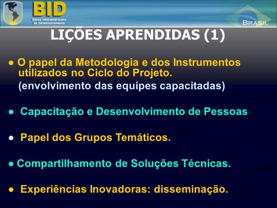 LIÇÕES APRENDIDAS (1) O papel da Metodologia e dos Instrumentos utilizados no Ciclo do Projeto. (envolvimento das equipes capacitadas) Capacitação e D