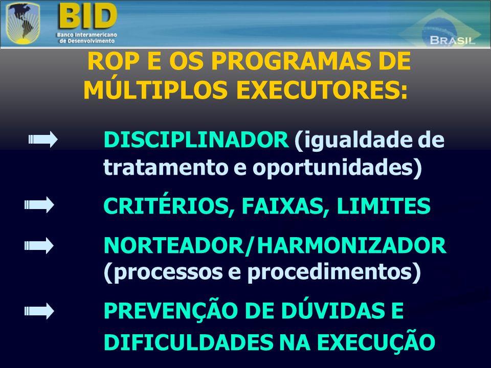 ROP E OS PROGRAMAS DE MÚLTIPLOS EXECUTORES: DISCIPLINADOR (igualdade de tratamento e oportunidades) CRITÉRIOS, FAIXAS, LIMITES NORTEADOR/HARMONIZADOR