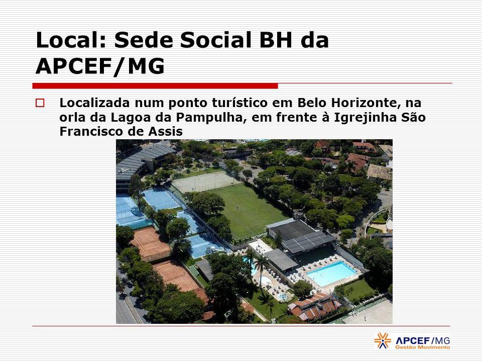 Local: Sede Social BH da APCEF/MG Localizada num ponto turístico em Belo Horizonte, na orla da Lagoa da Pampulha, em frente à Igrejinha São Francisco