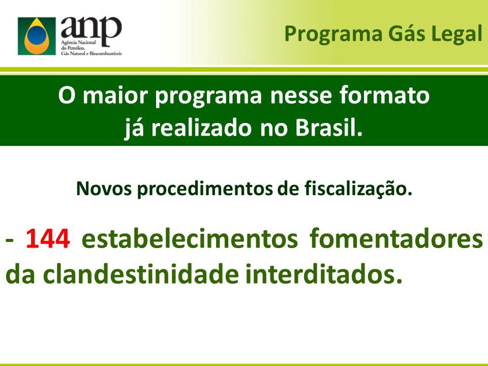 Programa Gás Legal O maior programa nesse formato já realizado no Brasil. - 144 estabelecimentos fomentadores da clandestinidade interditados. Novos p