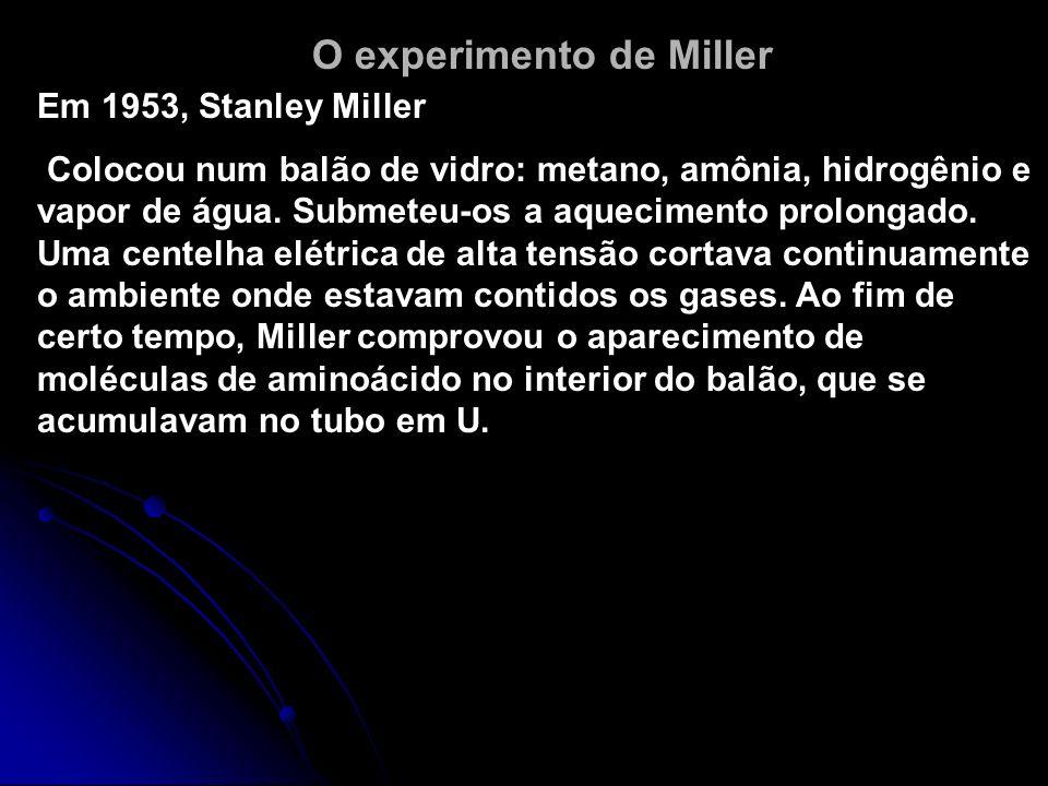 STANLEY MILLER RECRIOU PROVÁVEL ATMOSFERA DA TERRA PRIMITIVA (1953) (COMPROVOU A TEORIA DE OPARIN) MISTUROU CH 4, NH 3, H 2 e H 2 O SUBMETIDAS COM DES
