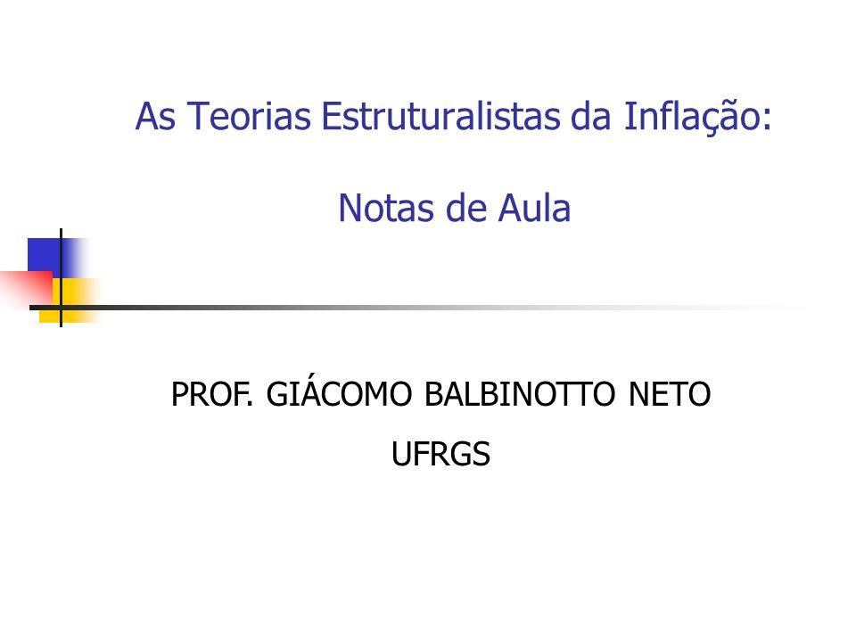 As Teorias Estruturalistas da Inflação: Notas de Aula PROF. GIÁCOMO BALBINOTTO NETO UFRGS