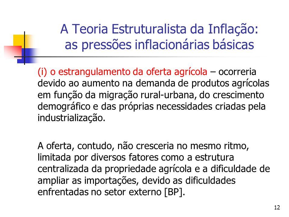 12 A Teoria Estruturalista da Inflação: as pressões inflacionárias básicas (i) o estrangulamento da oferta agrícola – ocorreria devido ao aumento na demanda de produtos agrícolas em função da migração rural-urbana, do crescimento demográfico e das próprias necessidades criadas pela industrialização.