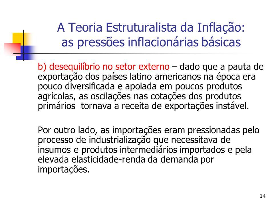 14 A Teoria Estruturalista da Inflação: as pressões inflacionárias básicas b) desequilíbrio no setor externo – dado que a pauta de exportação dos países latino americanos na época era pouco diversificada e apoiada em poucos produtos agrícolas, as oscilações nas cotações dos produtos primários tornava a receita de exportações instável.