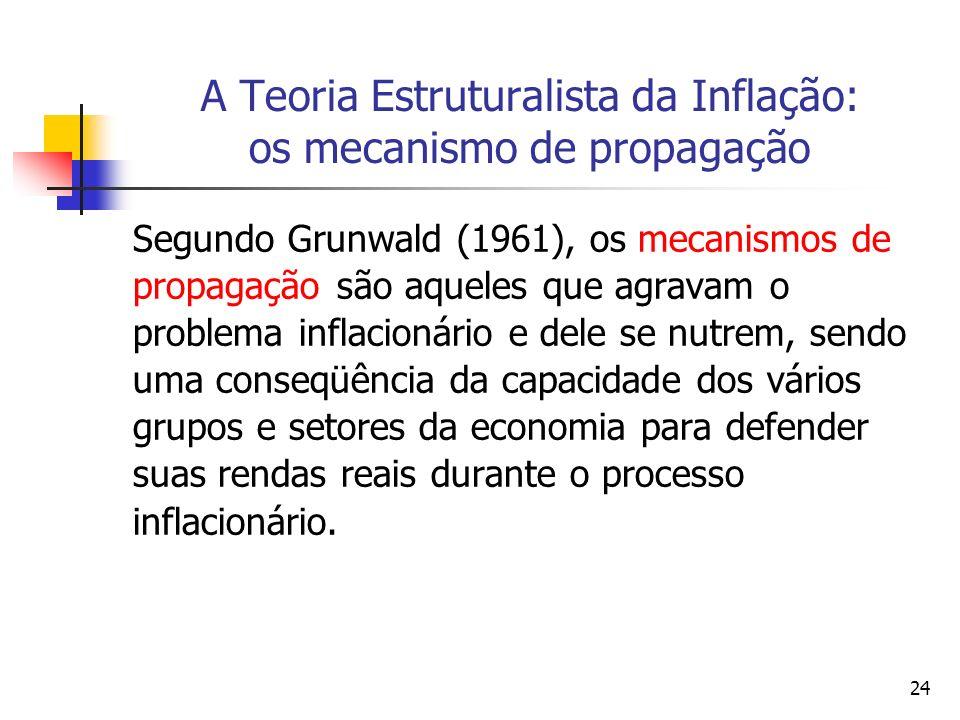 24 A Teoria Estruturalista da Inflação: os mecanismo de propagação Segundo Grunwald (1961), os mecanismos de propagação são aqueles que agravam o problema inflacionário e dele se nutrem, sendo uma conseqüência da capacidade dos vários grupos e setores da economia para defender suas rendas reais durante o processo inflacionário.
