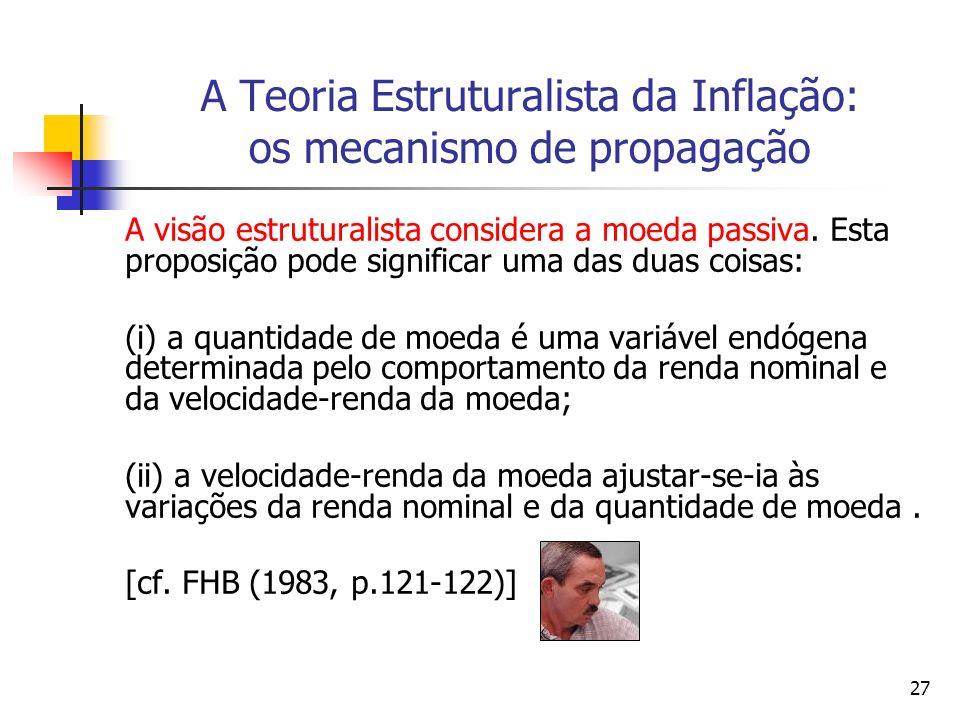 27 A Teoria Estruturalista da Inflação: os mecanismo de propagação A visão estruturalista considera a moeda passiva.