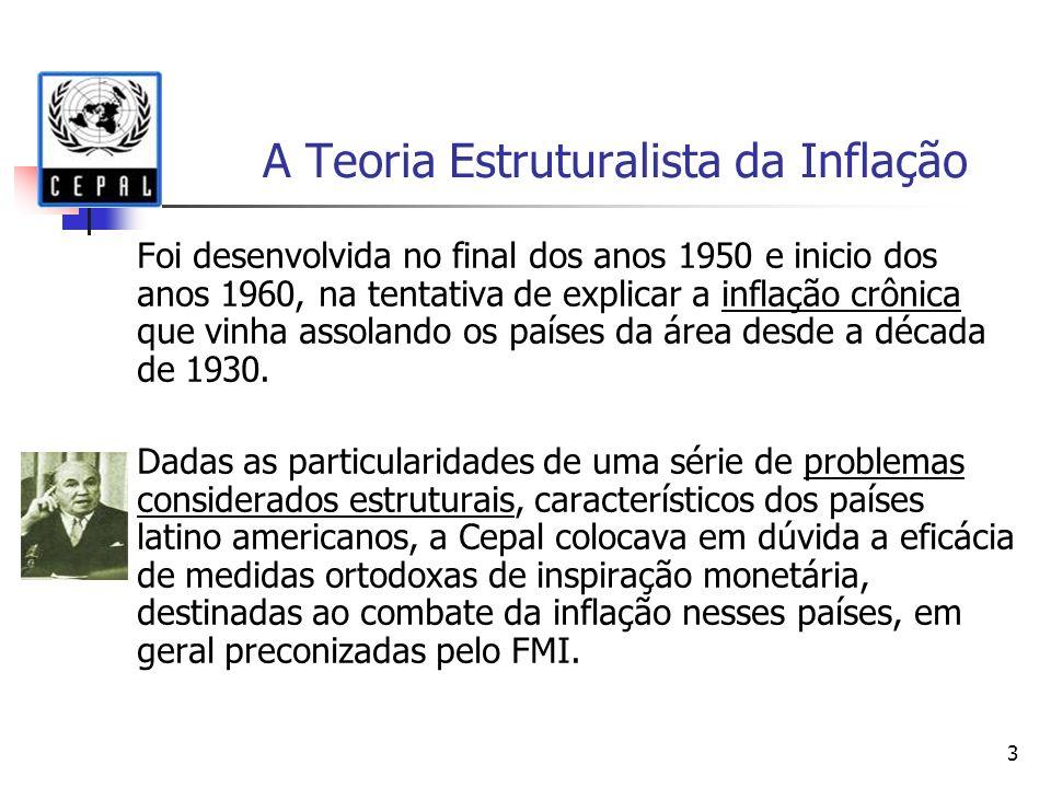 3 A Teoria Estruturalista da Inflação Foi desenvolvida no final dos anos 1950 e inicio dos anos 1960, na tentativa de explicar a inflação crônica que vinha assolando os países da área desde a década de 1930.