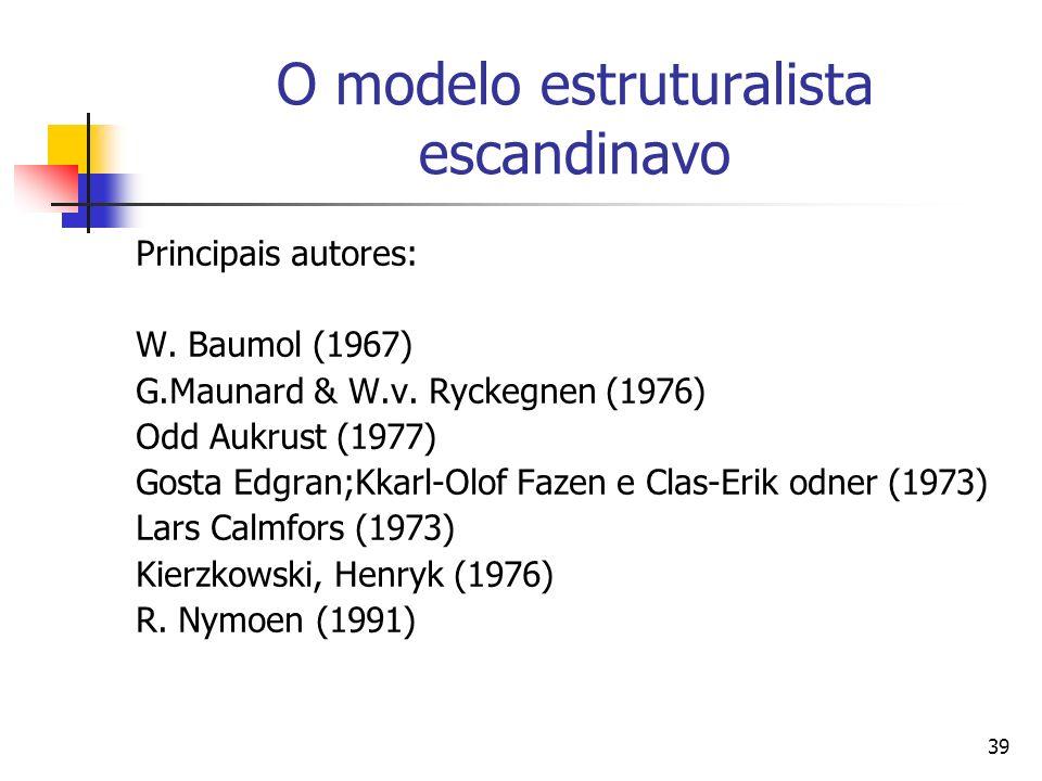 39 O modelo estruturalista escandinavo Principais autores: W.