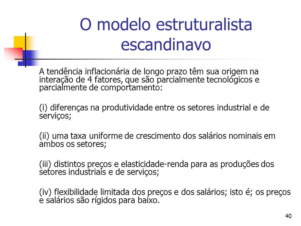 40 O modelo estruturalista escandinavo A tendência inflacionária de longo prazo têm sua origem na interação de 4 fatores, que são parcialmente tecnológicos e parcialmente de comportamento: (i) diferenças na produtividade entre os setores industrial e de serviços; (ii) uma taxa uniforme de crescimento dos salários nominais em ambos os setores; (iii) distintos preços e elasticidade-renda para as produções dos setores industriais e de serviços; (iv) flexibilidade limitada dos preços e dos salários; isto é; os preços e salários são rígidos para baixo.