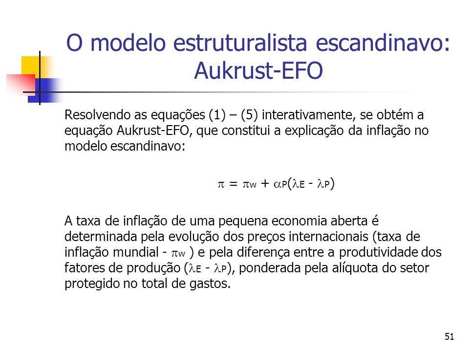 51 O modelo estruturalista escandinavo: Aukrust-EFO Resolvendo as equações (1) – (5) interativamente, se obtém a equação Aukrust-EFO, que constitui a explicação da inflação no modelo escandinavo: = w + P ( E - P ) A taxa de inflação de uma pequena economia aberta é determinada pela evolução dos preços internacionais (taxa de inflação mundial - w ) e pela diferença entre a produtividade dos fatores de produção ( E - P ), ponderada pela alíquota do setor protegido no total de gastos.
