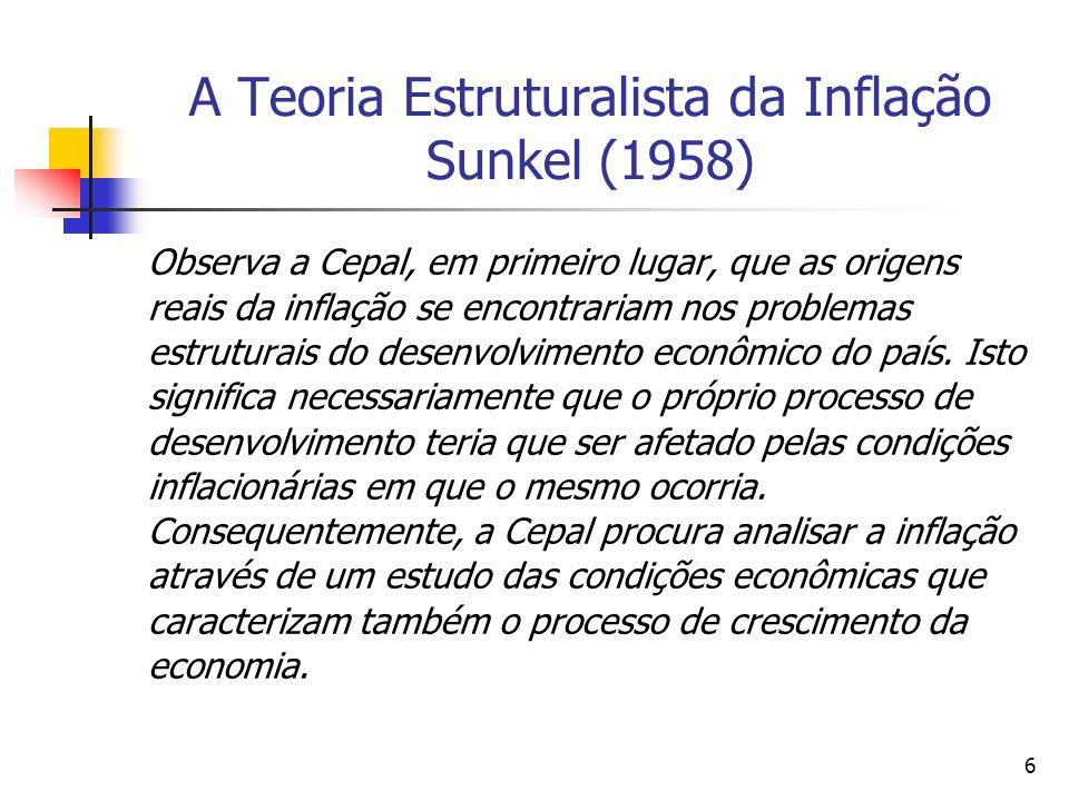 6 A Teoria Estruturalista da Inflação Sunkel (1958) Observa a Cepal, em primeiro lugar, que as origens reais da inflação se encontrariam nos problemas estruturais do desenvolvimento econômico do país.