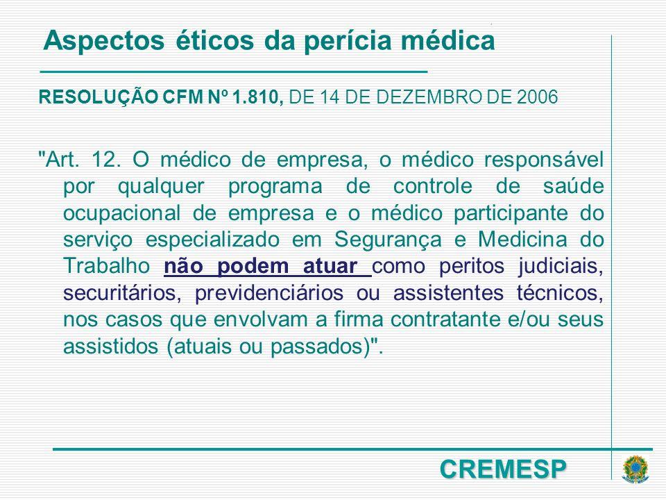 CREMESP RESOLUÇÃO CFM Nº 1.810, DE 14 DE DEZEMBRO DE 2006