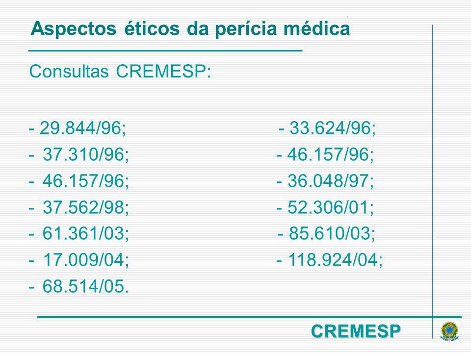 CREMESP Consultas CREMESP: - 29.844/96; - 33.624/96; -37.310/96; - 46.157/96; -46.157/96; - 36.048/97; -37.562/98; - 52.306/01; -61.361/03; - 85.610/0
