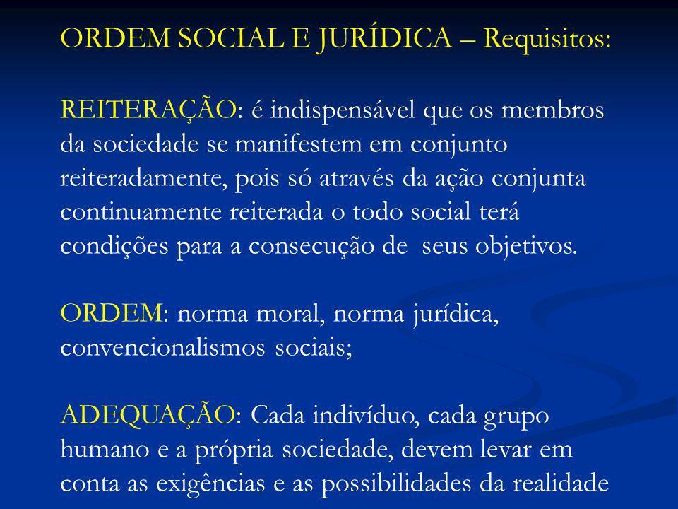 ORDEM SOCIAL E JURÍDICA – Requisitos: REITERAÇÃO: é indispensável que os membros da sociedade se manifestem em conjunto reiteradamente, pois só atravé