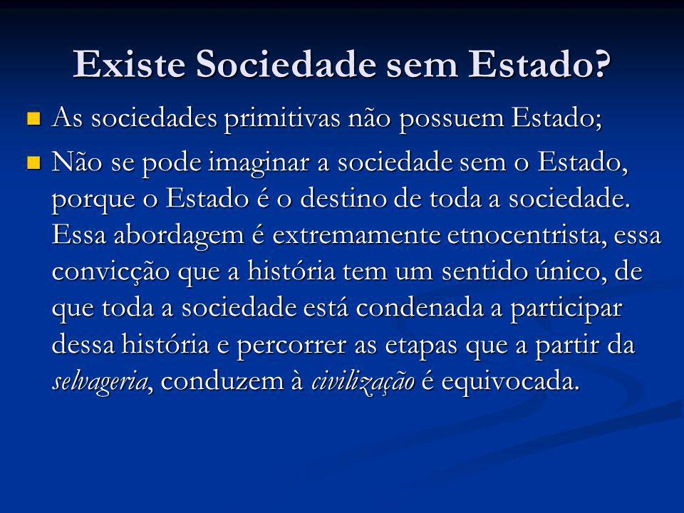 Existe Sociedade sem Estado? As sociedades primitivas não possuem Estado; As sociedades primitivas não possuem Estado; Não se pode imaginar a sociedad