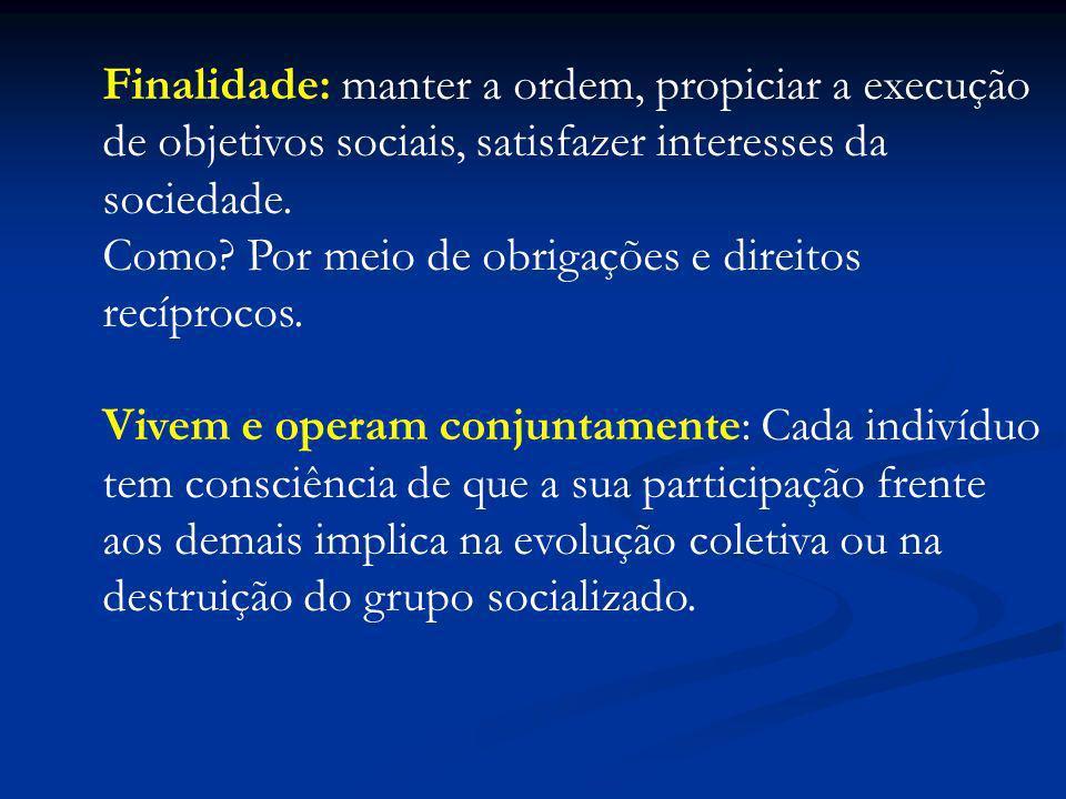 Finalidade: manter a ordem, propiciar a execução de objetivos sociais, satisfazer interesses da sociedade. Como? Por meio de obrigações e direitos rec