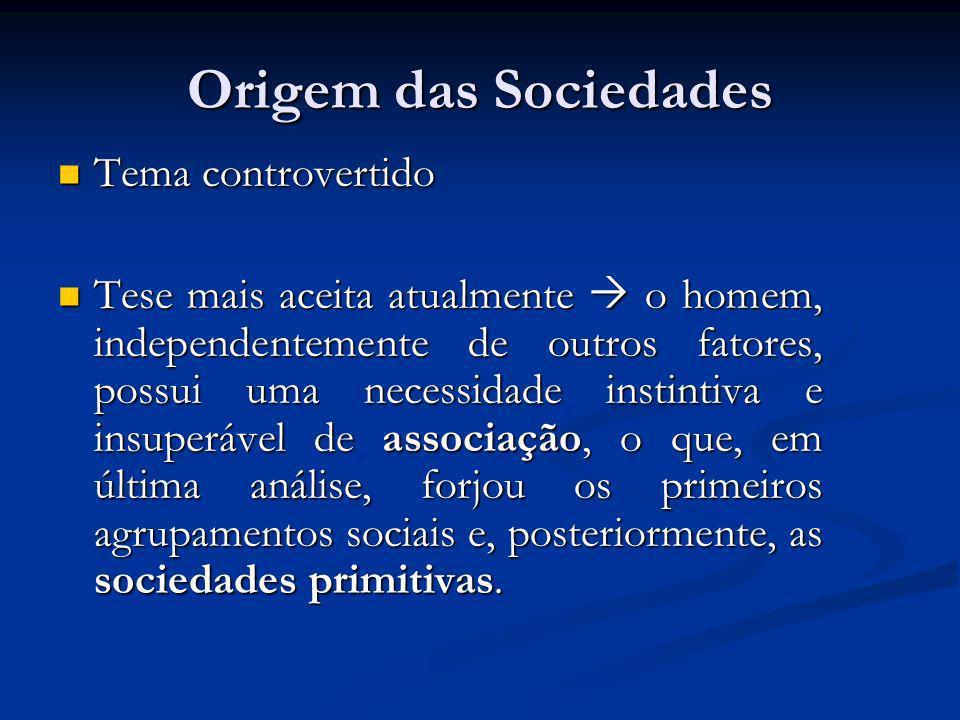 Origem das Sociedades Tema controvertido Tema controvertido Tese mais aceita atualmente o homem, independentemente de outros fatores, possui uma neces