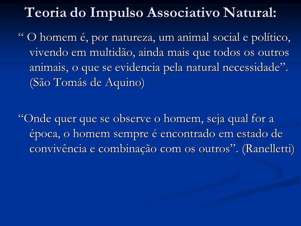 Teoria do Impulso Associativo Natural: O homem é, por natureza, um animal social e político, vivendo em multidão, ainda mais que todos os outros anima
