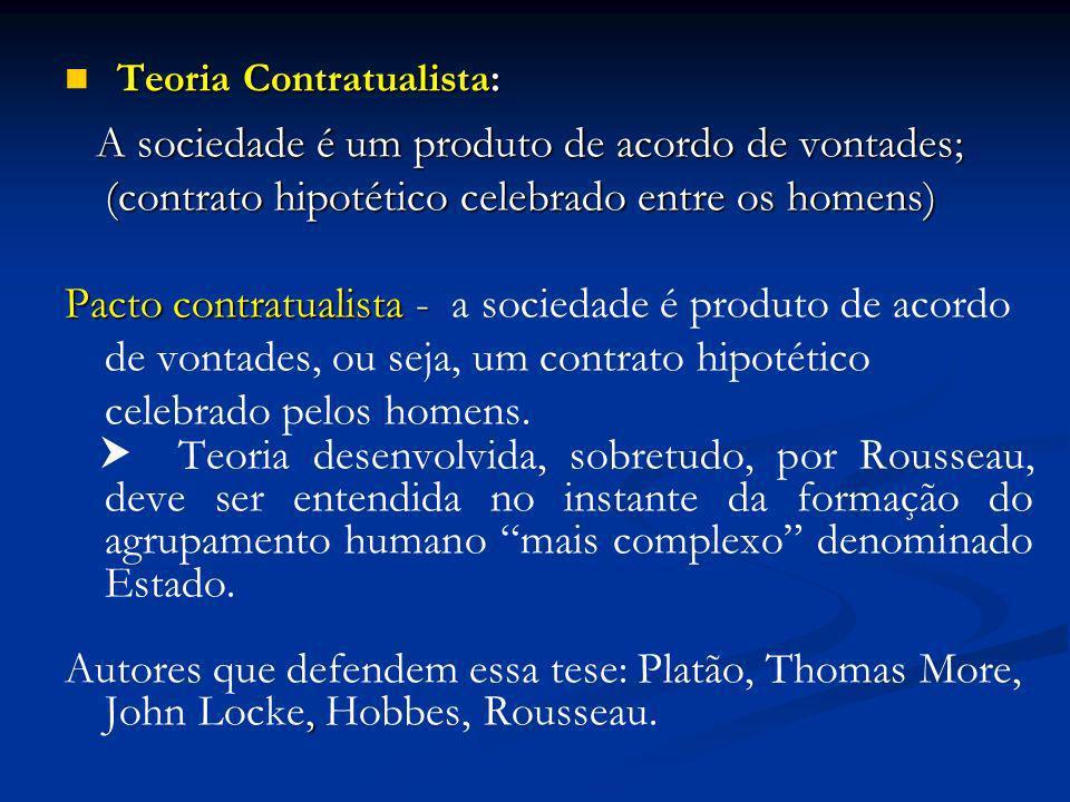 Teoria Contratualista: Teoria Contratualista: A sociedade é um produto de acordo de vontades; (contrato hipotético celebrado entre os homens) A socied