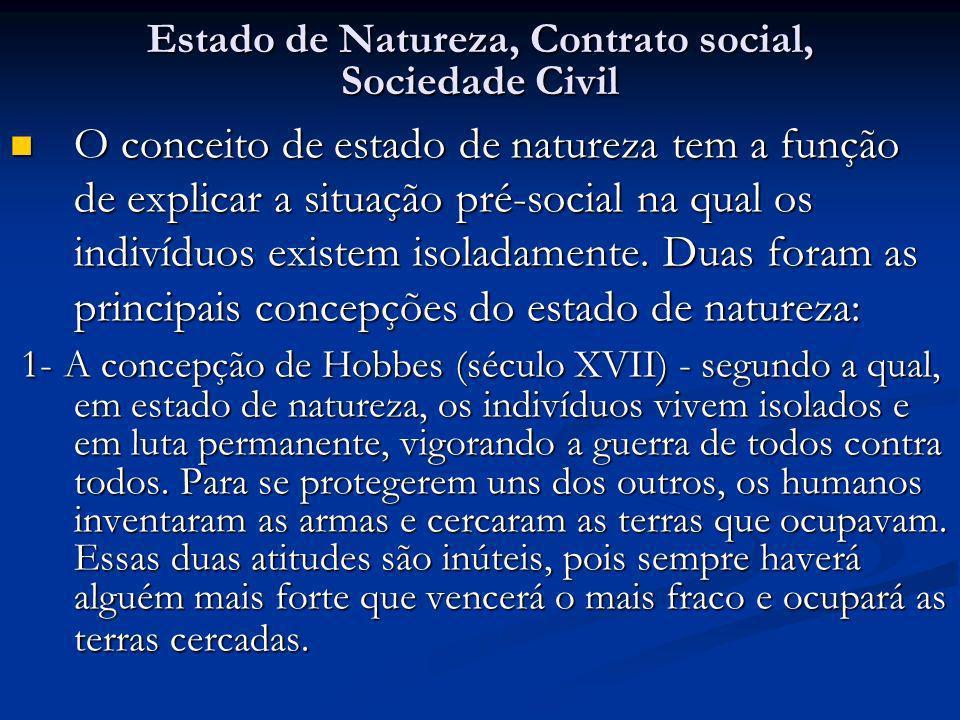 Estado de Natureza, Contrato social, Sociedade Civil O conceito de estado de natureza tem a função de explicar a situação pré-social na qual os indiví