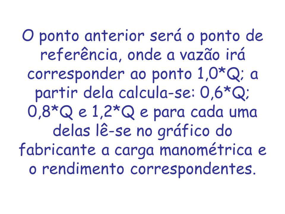 O ponto anterior será o ponto de referência, onde a vazão irá corresponder ao ponto 1,0*Q; a partir dela calcula-se: 0,6*Q; 0,8*Q e 1,2*Q e para cada