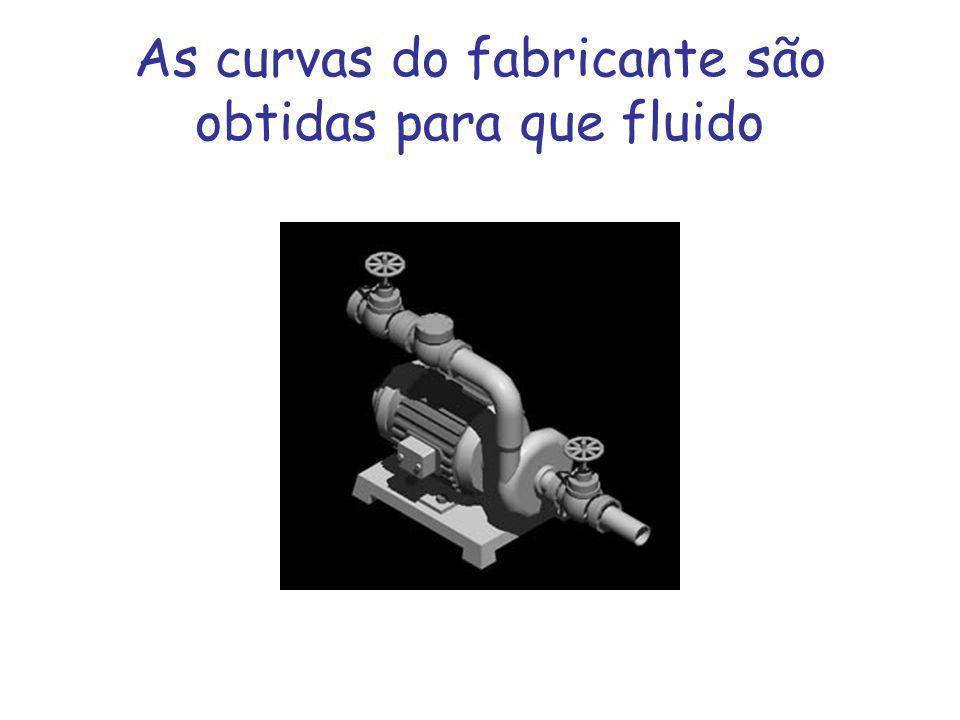 As curvas do fabricante são obtidas para que fluido