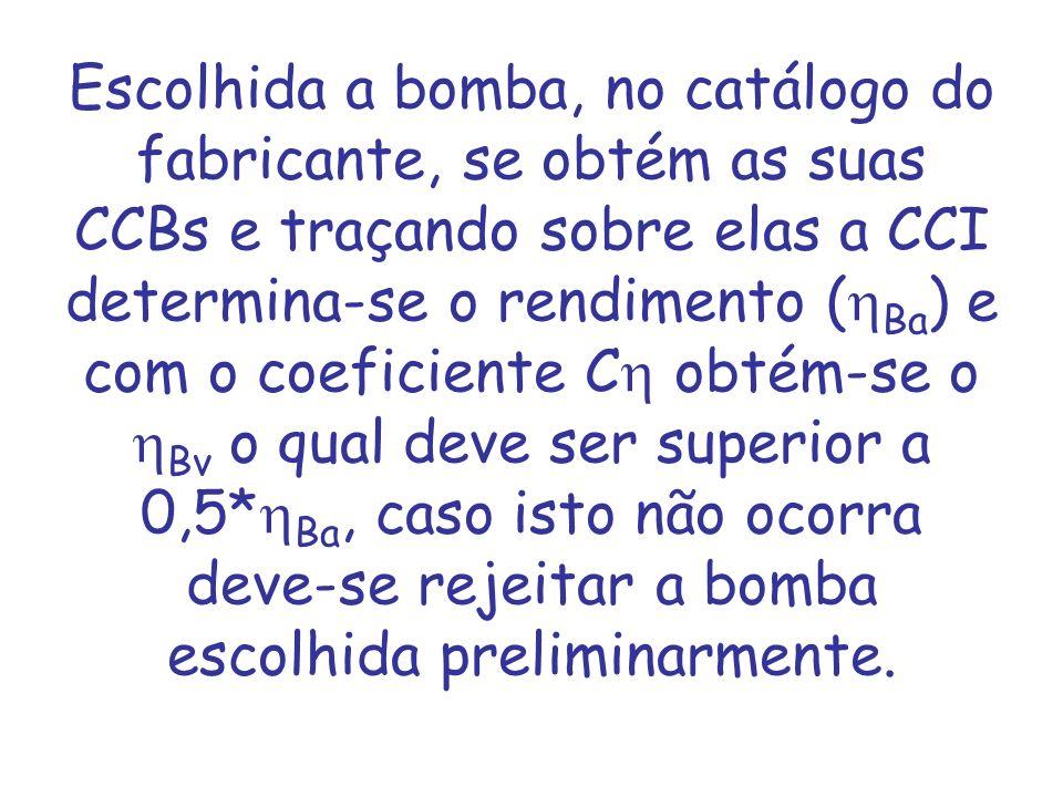 Escolhida a bomba, no catálogo do fabricante, se obtém as suas CCBs e traçando sobre elas a CCI determina-se o rendimento ( Ba ) e com o coeficiente C
