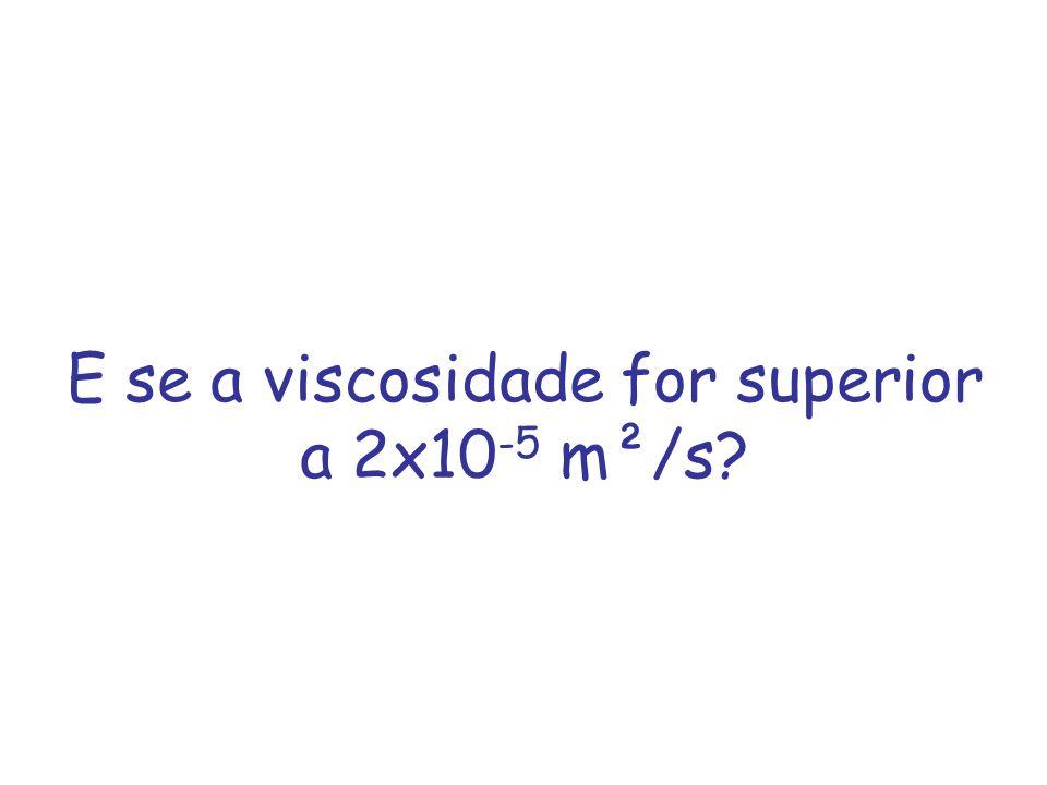 E se a viscosidade for superior a 2x10 -5 m²/s?