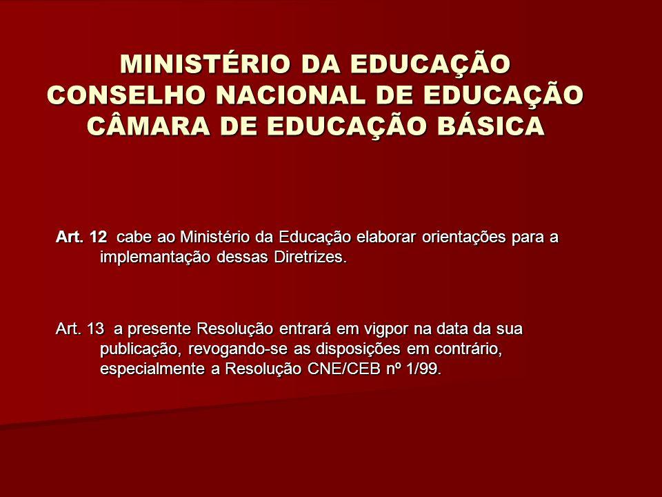 MINISTÉRIO DA EDUCAÇÃO CONSELHO NACIONAL DE EDUCAÇÃO CÂMARA DE EDUCAÇÃO BÁSICA Art.