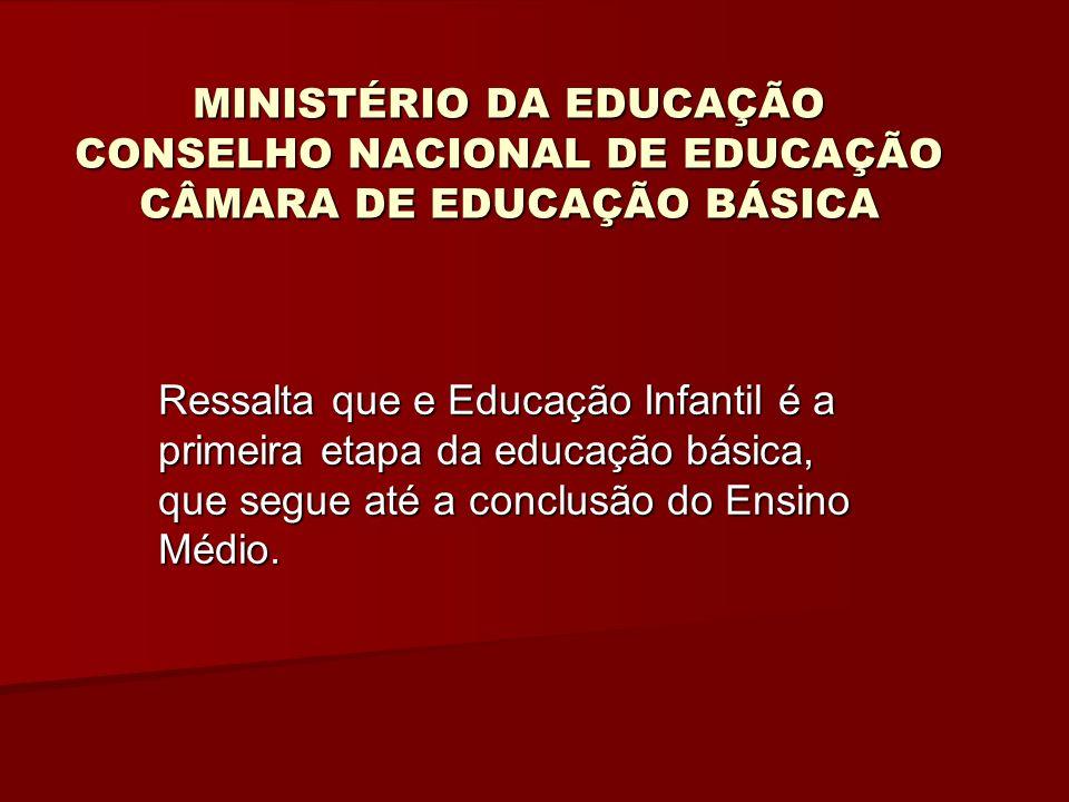 MINISTÉRIO DA EDUCAÇÃO CONSELHO NACIONAL DE EDUCAÇÃO CÂMARA DE EDUCAÇÃO BÁSICA Artº 7 garante a função sociopolitica e pedagógica.