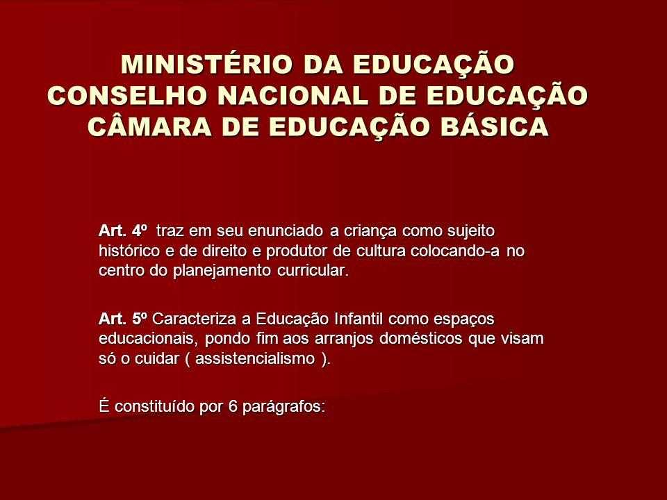 MINISTÉRIO DA EDUCAÇÃO CONSELHO NACIONAL DE EDUCAÇÃO CÂMARA DE EDUCAÇÃO BÁSICA § 2 fala da obrigatoriedade da matrícula na E.I.