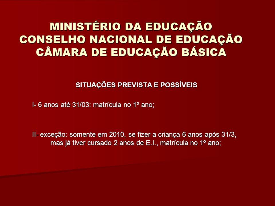 MINISTÉRIO DA EDUCAÇÃO CONSELHO NACIONAL DE EDUCAÇÃO CÂMARA DE EDUCAÇÃO BÁSICA SITUAÇÕES PREVISTA E POSSÍVEIS I- 6 anos até 31/03: matrícula no 1º ano; II- exceção: somente em 2010, se fizer a criança 6 anos após 31/3, mas já tiver cursado 2 anos de E.I., matrícula no 1º ano;