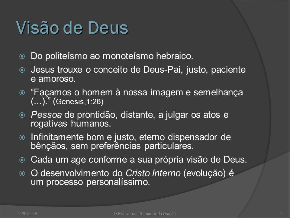 Visão de Deus Do politeísmo ao monoteísmo hebraico. Jesus trouxe o conceito de Deus-Pai, justo, paciente e amoroso. Façamos o homem à nossa imagem e s