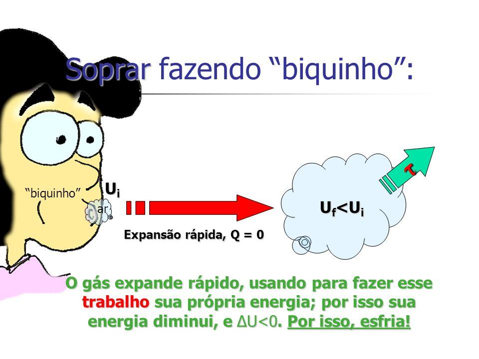 Soprar Soprar fazendo biquinho: Expansão rápida, Q = 0 O gás expande rápido, usando para fazer esse trabalho sua própria energia; por isso sua energia