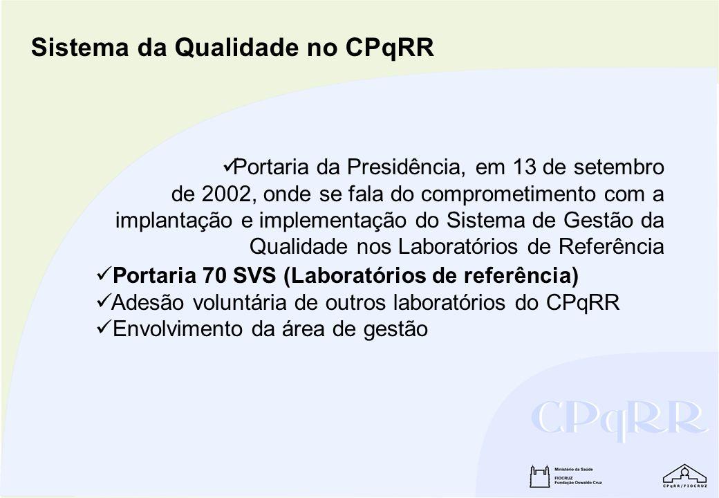 Portaria da Presidência, em 13 de setembro de 2002, onde se fala do comprometimento com a implantação e implementação do Sistema de Gestão da Qualidad