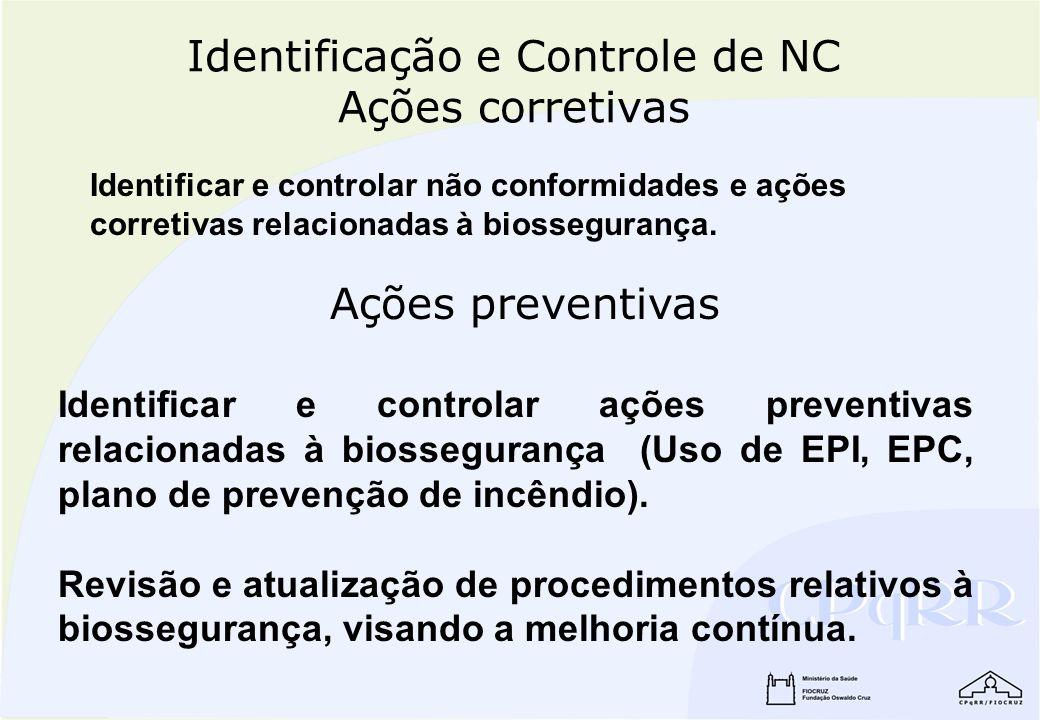 Identificação e Controle de NC Ações corretivas Identificar e controlar não conformidades e ações corretivas relacionadas à biossegurança. Identificar
