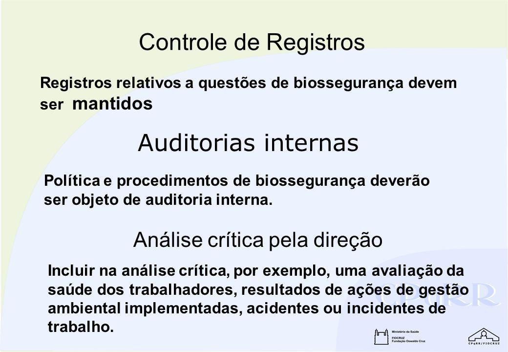 Registros relativos a questões de biossegurança devem ser mantidos Controle de Registros Política e procedimentos de biossegurança deverão ser objeto