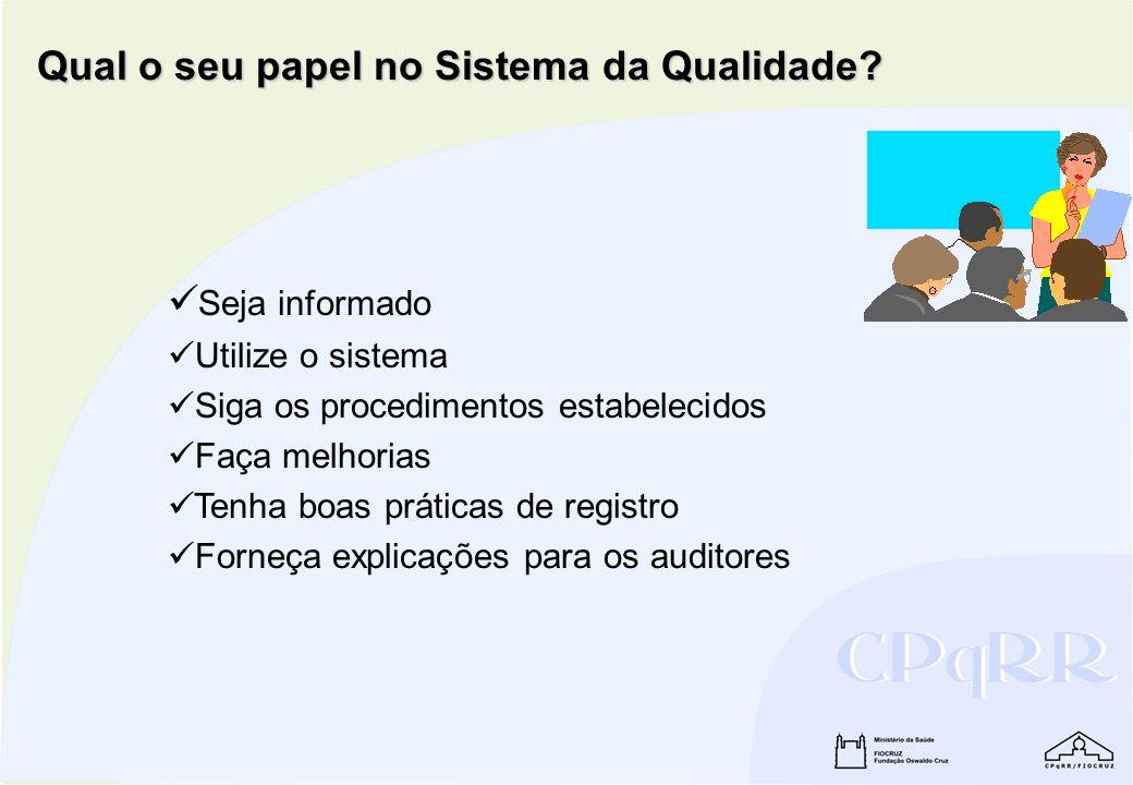 Qual o seu papel no Sistema da Qualidade? Seja informado Utilize o sistema Siga os procedimentos estabelecidos Faça melhorias Tenha boas práticas de r