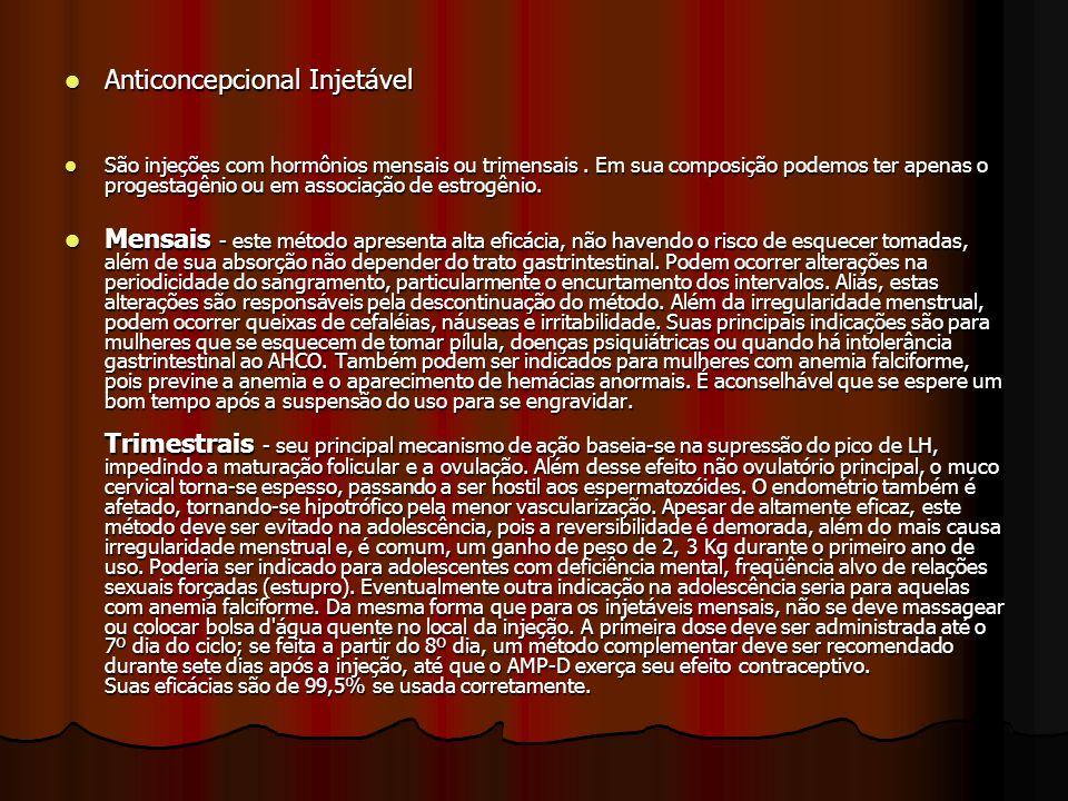 Anticoncepcional Injetável Anticoncepcional Injetável São injeções com hormônios mensais ou trimensais. Em sua composição podemos ter apenas o progest