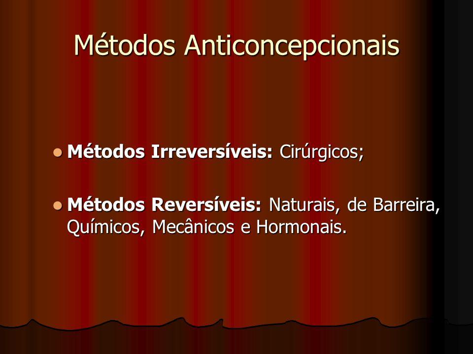 Métodos Anticoncepcionais Métodos Irreversíveis: Cirúrgicos; Métodos Irreversíveis: Cirúrgicos; Métodos Reversíveis: Naturais, de Barreira, Químicos,
