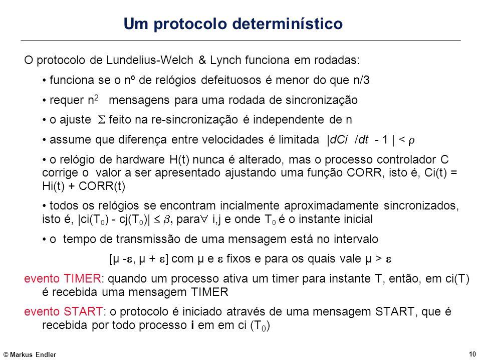 © Markus Endler 10 Um protocolo determinístico O protocolo de Lundelius-Welch & Lynch funciona em rodadas: funciona se o nº de relógios defeituosos é