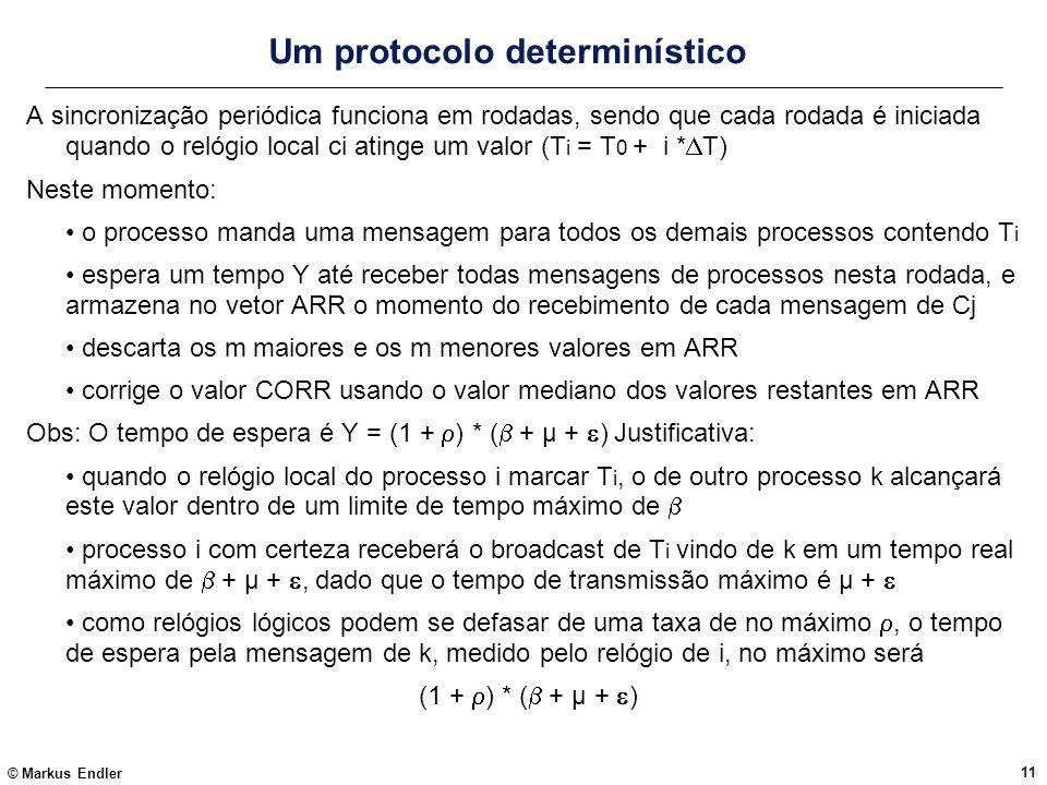 © Markus Endler 11 Um protocolo determinístico A sincronização periódica funciona em rodadas, sendo que cada rodada é iniciada quando o relógio local