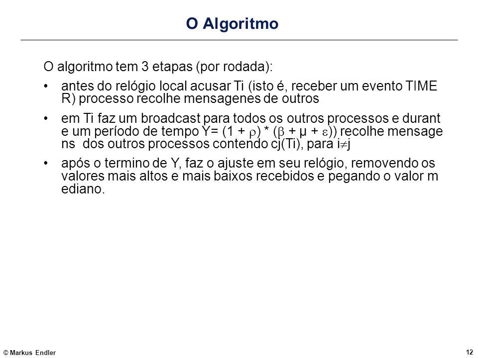 © Markus Endler 12 O Algoritmo O algoritmo tem 3 etapas (por rodada): antes do relógio local acusar Ti (isto é, receber um evento TIME R) processo rec