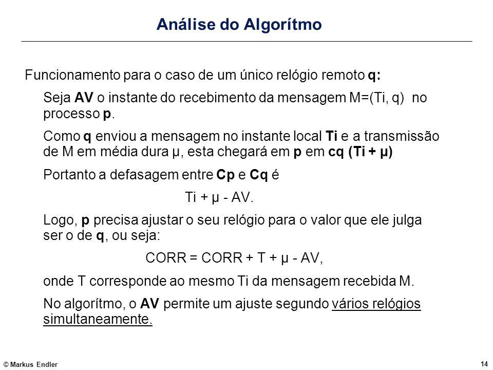© Markus Endler 14 Análise do Algorítmo Funcionamento para o caso de um único relógio remoto q: Seja AV o instante do recebimento da mensagem M=(Ti, q