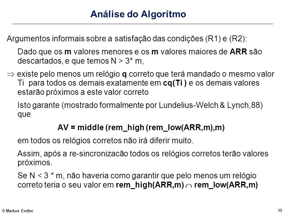 © Markus Endler 15 Análise do Algorítmo Argumentos informais sobre a satisfação das condições (R1) e (R2): Dado que os m valores menores e os m valore